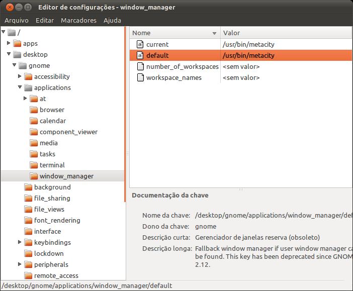 Editor de Configurações do Gnome.