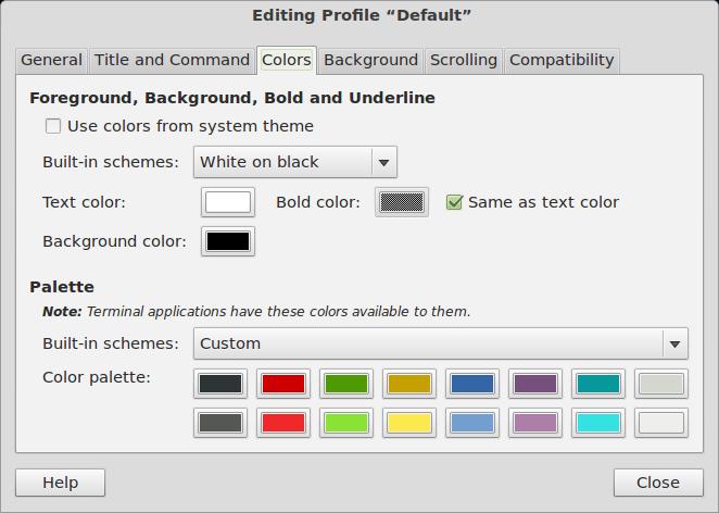 Configuração de cores.