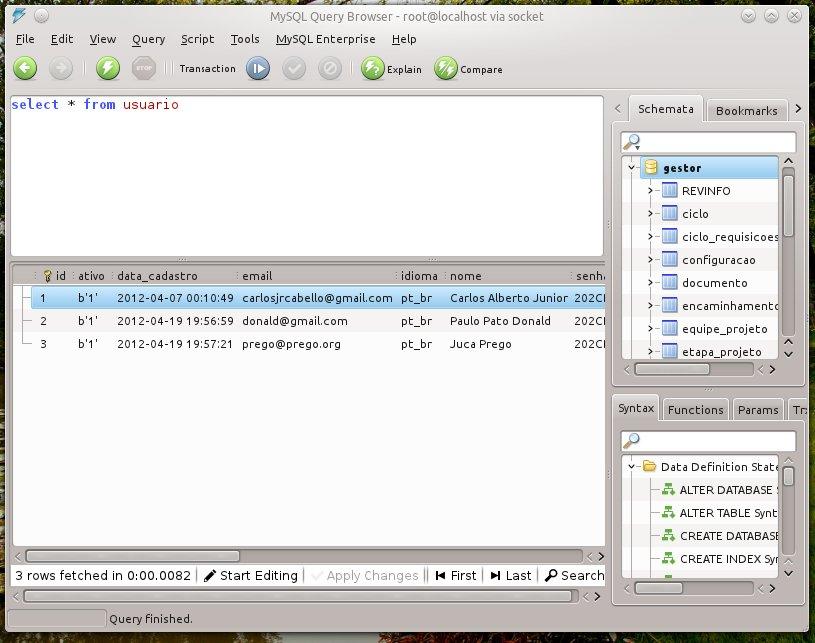 MySQL Query Browser no Linux Mint com KDE.