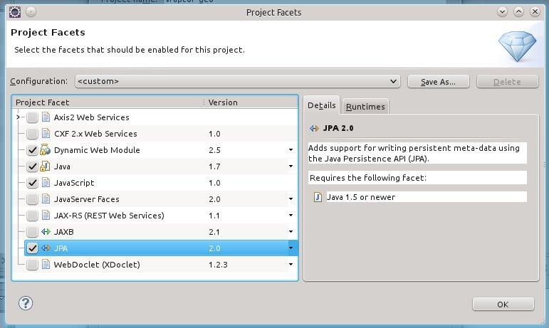 Configuração do suporte ao JPA 2.0.